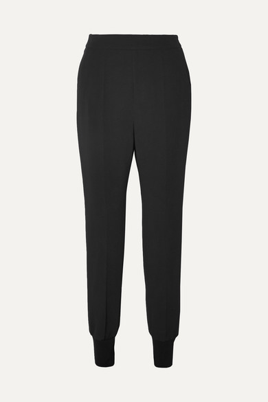 Julia Stretch-Cady Track Pants in Black