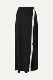 Sid Neigum Wrap-effect satin-trimmed stretch-knit maxi skirt