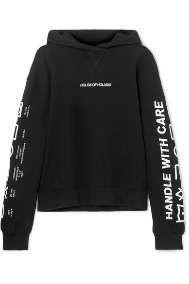 HOUSE OF HOLLAND | House of Holland - Oversized Embroidered Cotton-terry Hoodie - Black | Goxip
