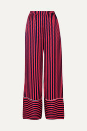 House of Holland Striped flocked satin pajama pants