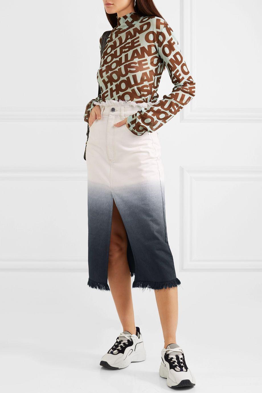 House of Holland Frayed ombré denim midi skirt