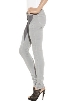 Leather and silk-paneled mid-rise skinny jeans from cache.net-a-porter.com