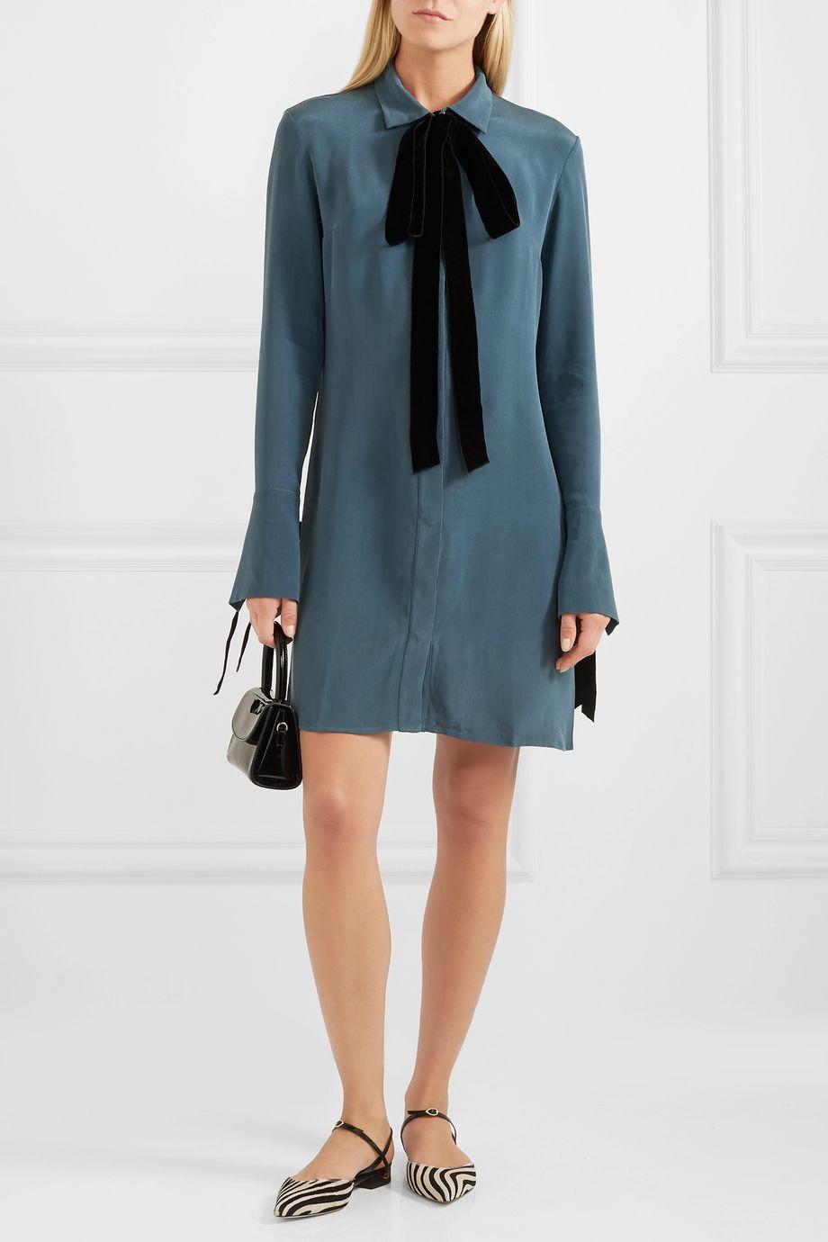 Olivia von Halle Heroine velvet-trimmed washed-silk mini dress