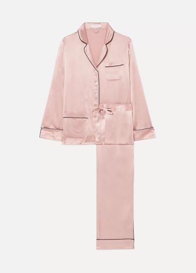 OLIVIA VON HALLE | Olivia von Halle - Coco Silk-satin Pajama Set - Blush | Goxip