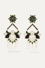Tropic gold-tone, bead and faux pearl clip earrings