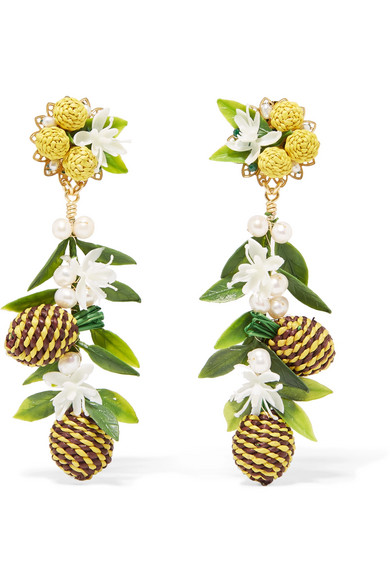 MERCEDES SALAZAR Tropic Pineapple Gold-Plated, Resin And Faux Pearl Clip Earrings in Yellow