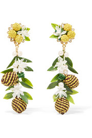 Mercedes Salazar Tropic Pineapple gold-plated, resin and faux pearl clip earrings