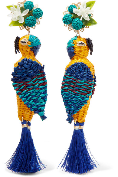 MERCEDES SALAZAR Tropic Parrot Gold-Tone, Woven And Tasseled Clip Earrings in Blue