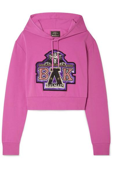 Balmain - Beyoncé Coachella Cropped Embellished Cotton-blend Jersey Hoodie - Fuchsia