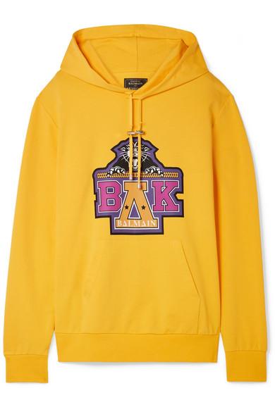 Balmain - Beyoncé Coachella Printed Cotton-blend Jersey Hooded Top - Yellow