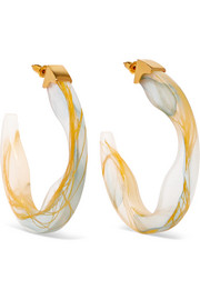 Scilla resin and gold-plated hoop earrings