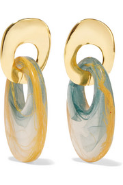 Ejing Zhang Finn gold-plated and resin earrings