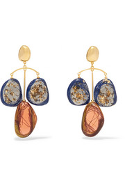 Patter gold-plated and resin earrings