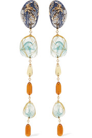 Ejing Zhang Patter Drop gold-plated resin earrings