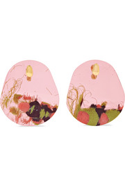 Caro resin and gold-plated clip earrings