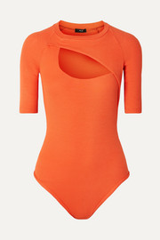 Alix Sloan cutout ribbed stretch-modal thong bodysuit