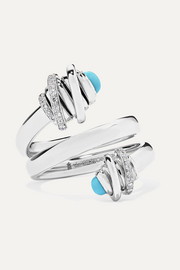 de GRISOGONO Toi & Moi 18-karat white gold, diamond and turquoise ring