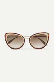 Alexander McQueen Cat-eye tortoiseshell acetate and gold-tone sunglasses