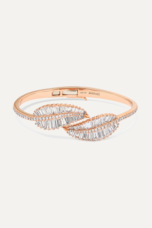 Anita Ko Palm Leaf 18-karat rose gold diamond bracelet