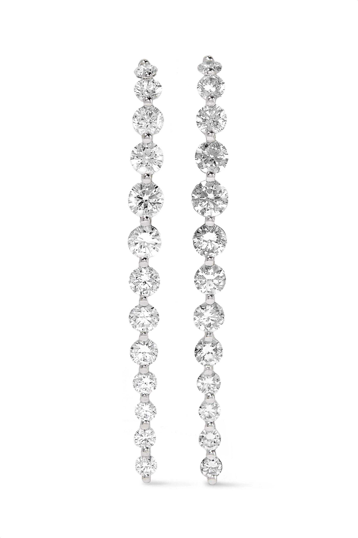 Anita Ko Long Cascade 18-karat white gold diamond earrings