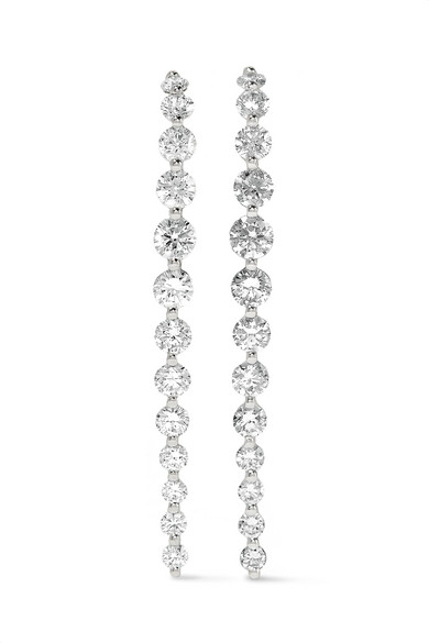 Anita Ko Long Cascade 18 Karat White Gold Diamond Earrings Net A Porter Com