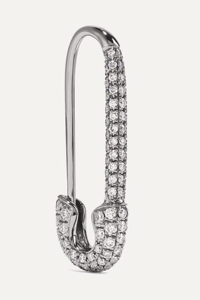 Anita Ko Safety Pin 18-karat blackened white gold diamond earring