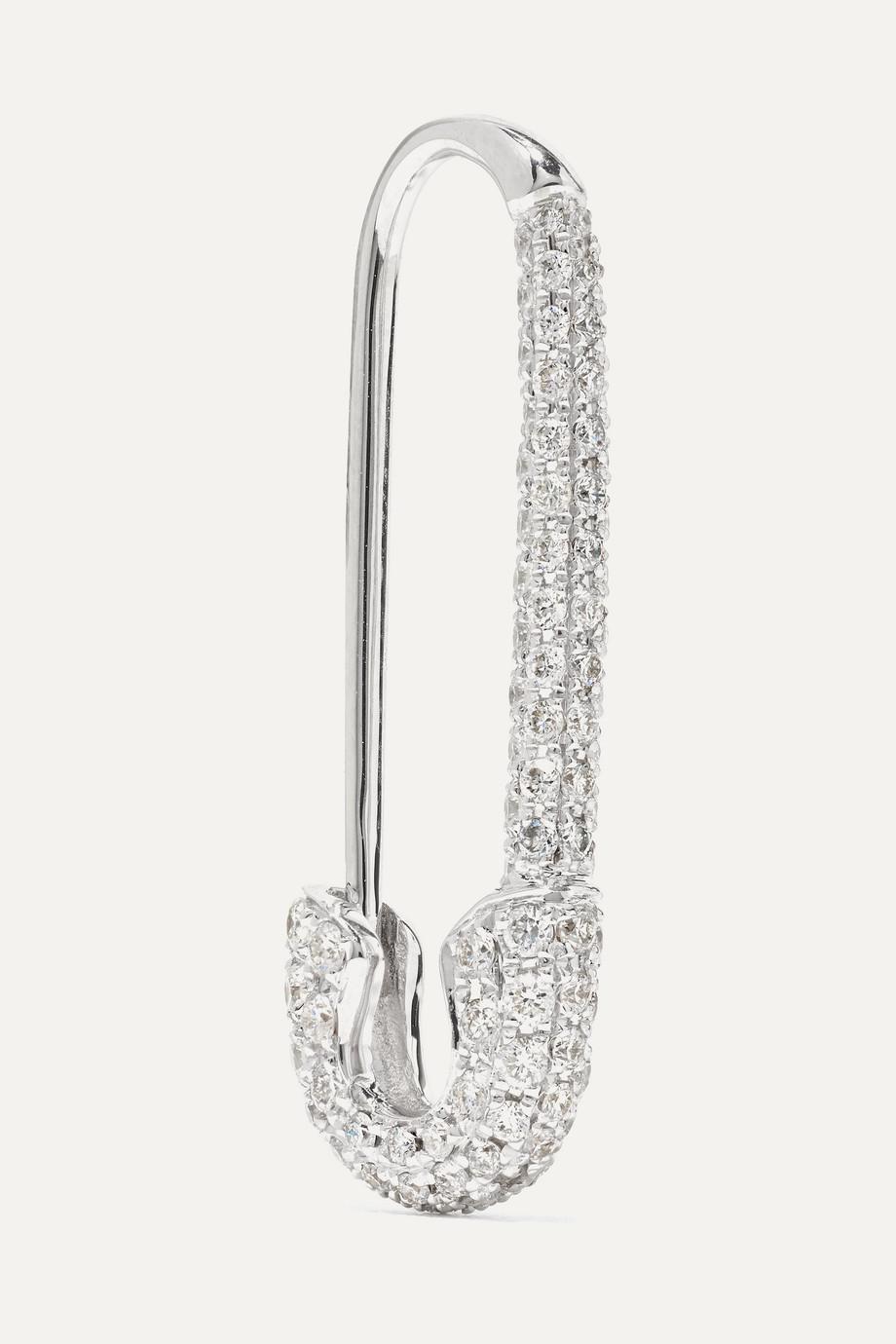 Anita Ko Safety Pin 18K 白金钻石单只耳环