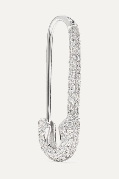 Anita Ko Safety Pin 18-karat white gold diamond earring