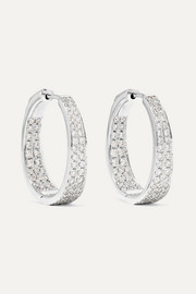 Meryl 18-karat white gold diamond hoop earrings