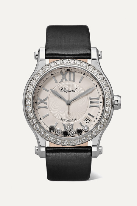 Black Happy Sport Automatic 36mm stainless steel, satin and diamond watch | Chopard CSSs0R