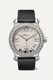 Chopard Happy Sport 36mm stainless steel, satin and diamond watch