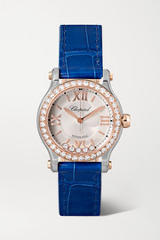 Happy Sport Automatic 30mm 18-karat rose gold, stainless steel, alligator and diamond watch