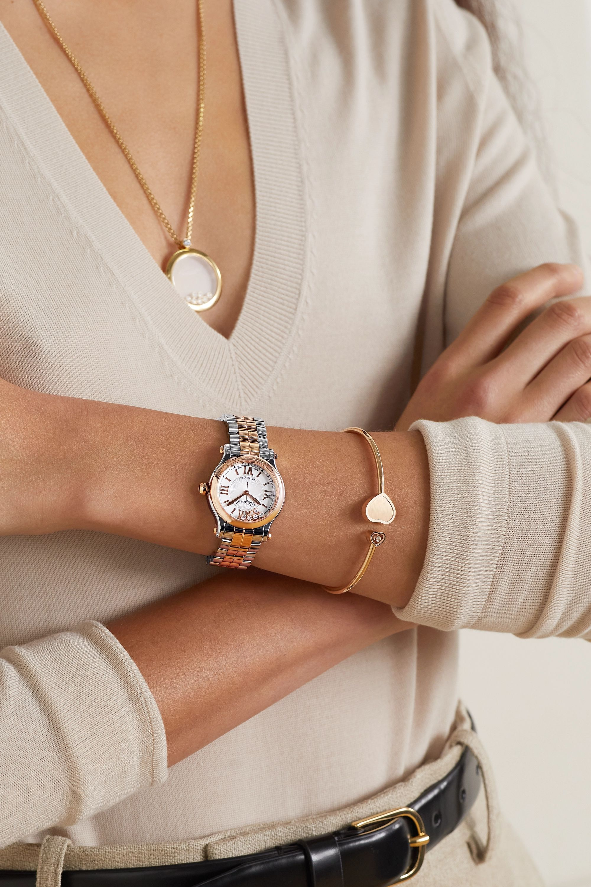 Chopard Happy Sport Automatic 30mm 18-karat rose gold, stainless steel and diamond watch