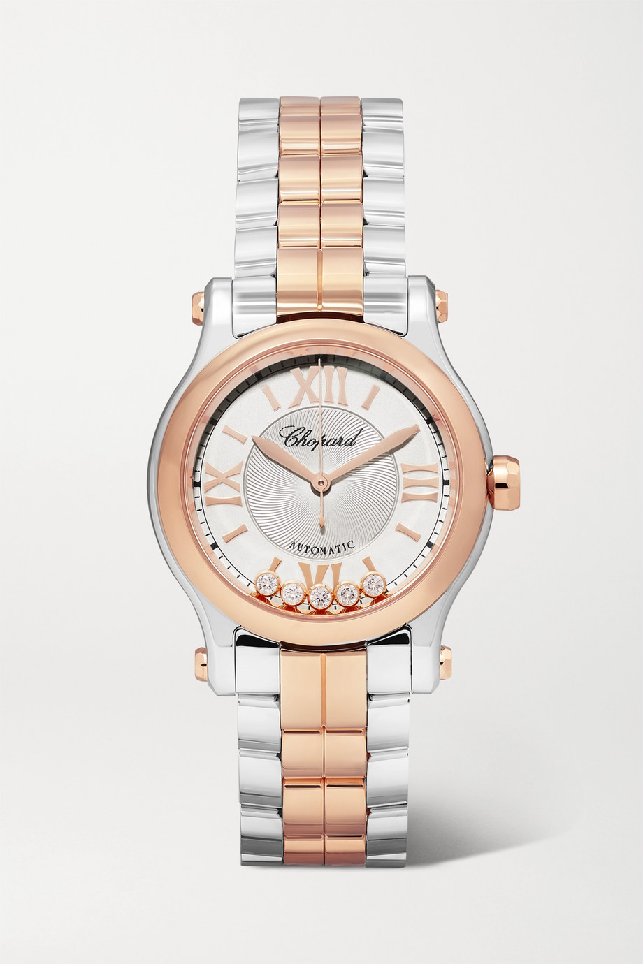Chopard Montre en or rose 18 carats, acier inoxydable, diamants et nacre Happy Sport Automatique 30 mm