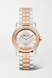 Happy Sport Automatic 30mm 18-karat rose gold, stainless steel and diamond watch