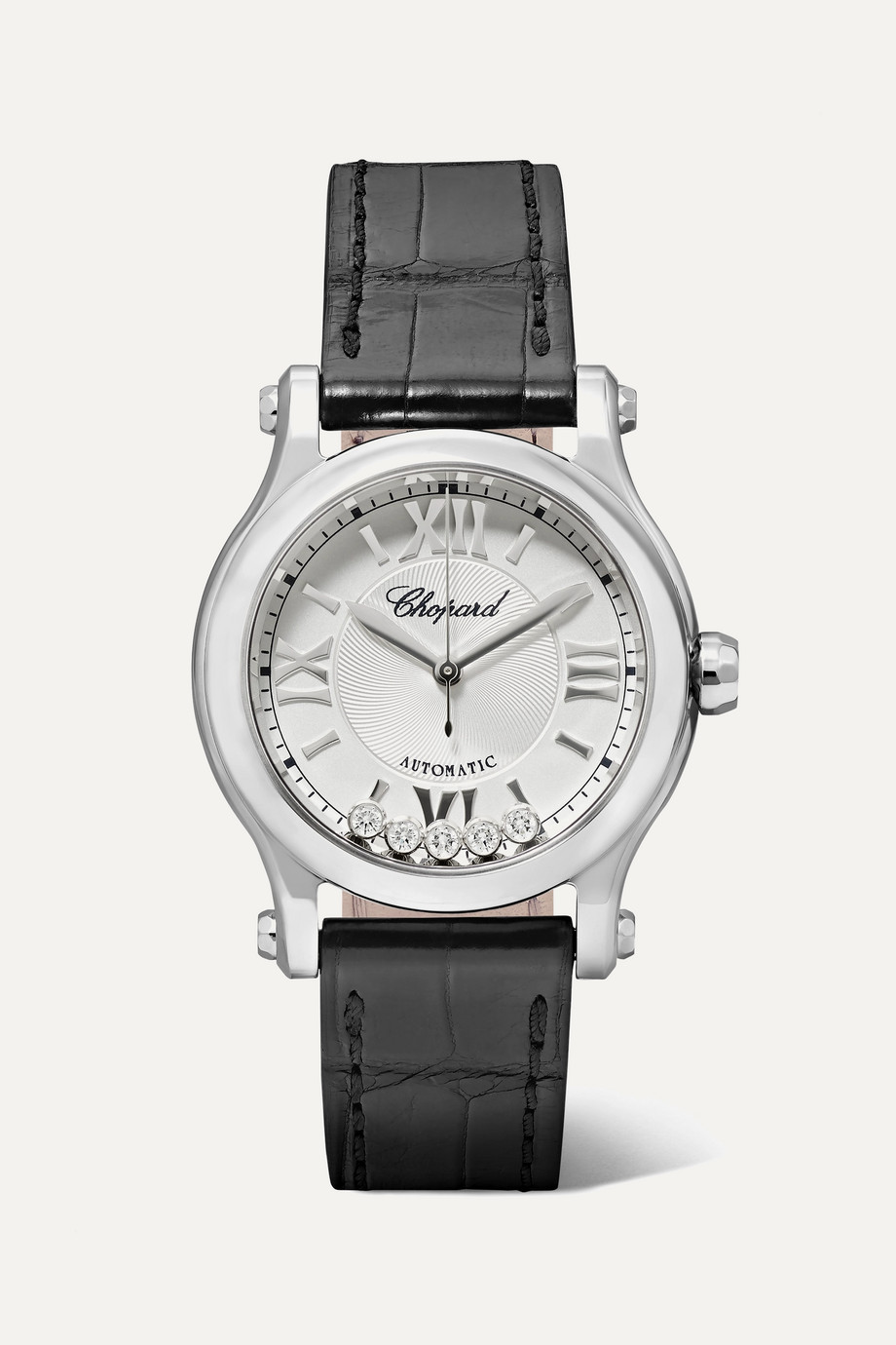 Chopard Happy Sport Automatic 30mm stainless steel, alligator and diamond watch
