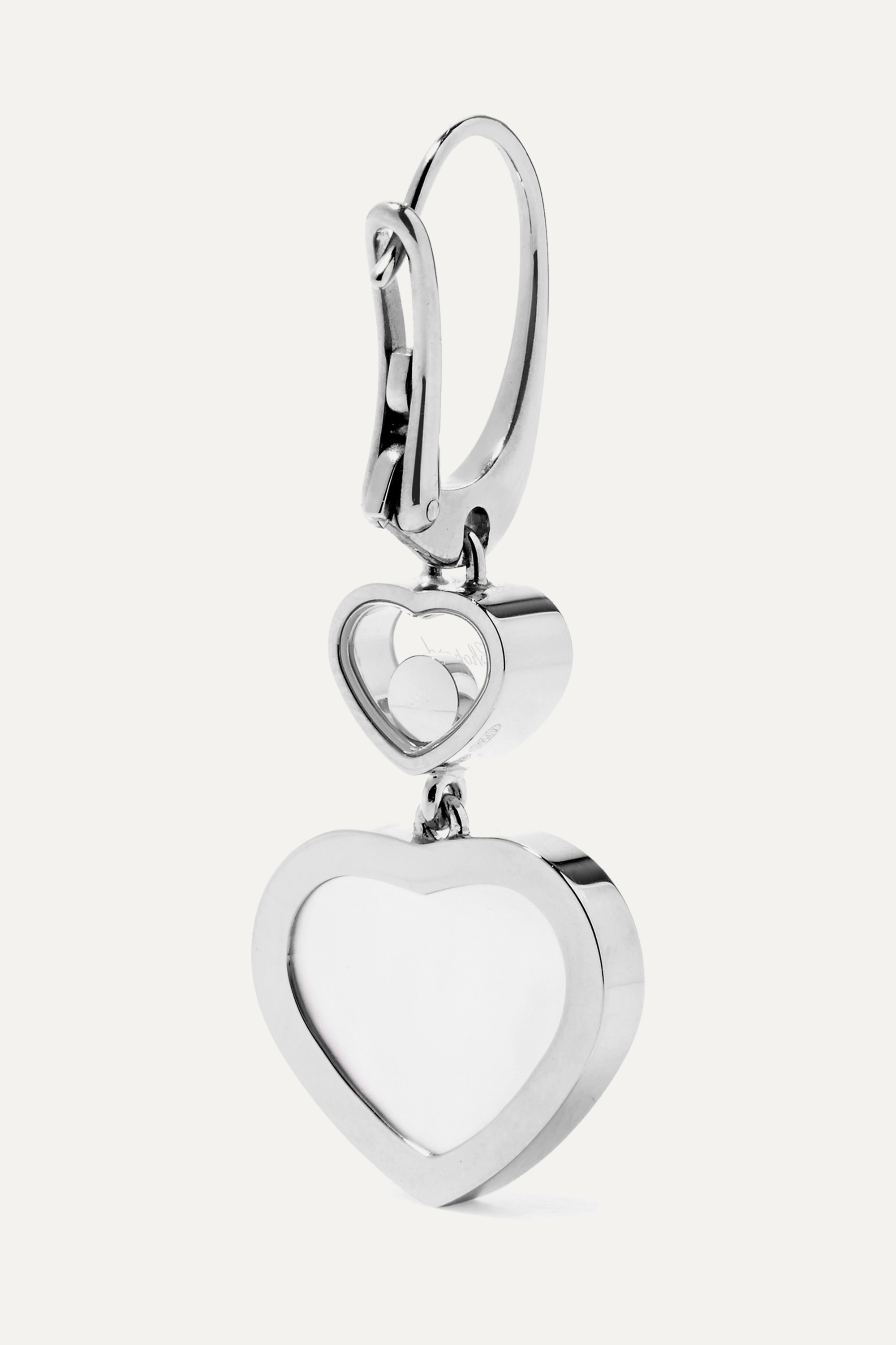 Chopard Happy Hearts 18-karat white gold, diamond and mother-of-pearl earrings