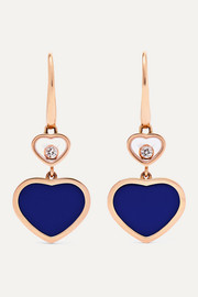 Happy Hearts 18-karat rose gold, diamond and lapis lazuli earrings