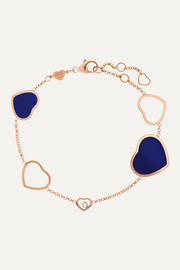 Happy Hearts 18-karat rose gold, diamond and lapis lazuli bracelet
