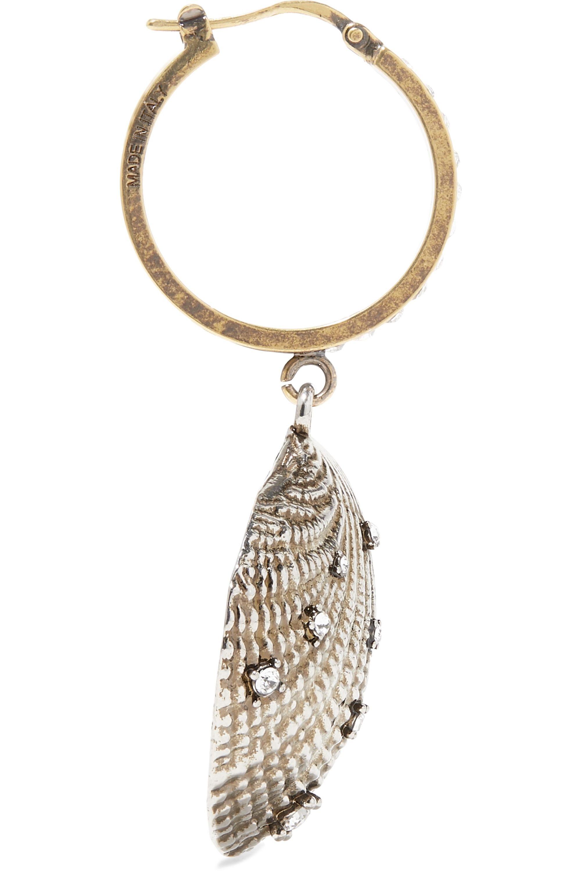 Alexander McQueen Boucles d'oreilles en métal argenté et doré et cristaux Swarovski