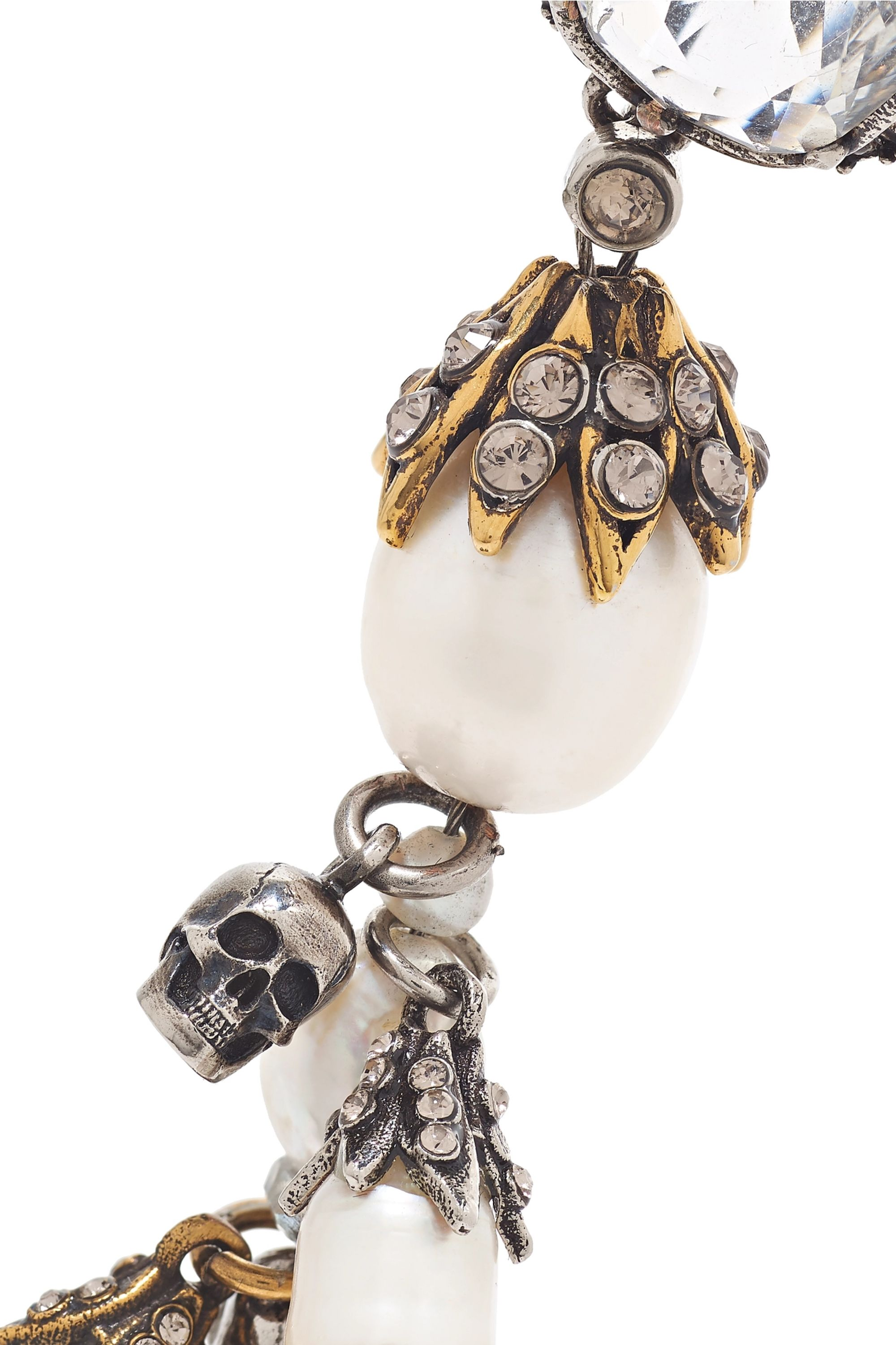 Alexander McQueen Palladium and gold-plated crystal and pearl ear cuff
