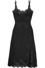 Dolce & Gabbana Lace-trimmed silk-blend georgette chemise