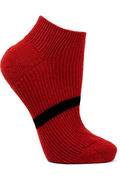 MARIA LA ROSA Striped Cashmere Socks in Red