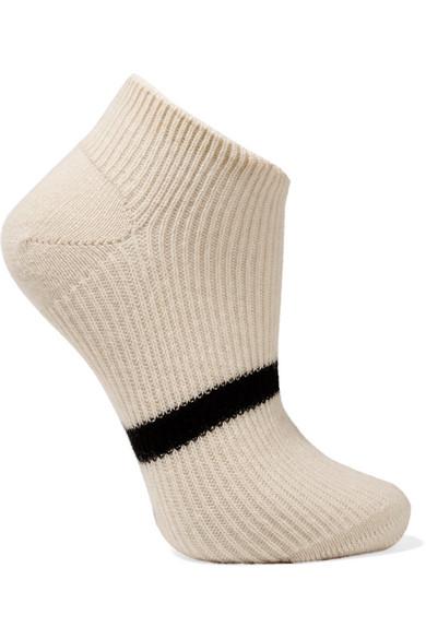 MARIA LA ROSA Striped Cashmere Socks in Ecru