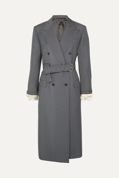 Belted Mohair And Wool Blend Coat by Prada