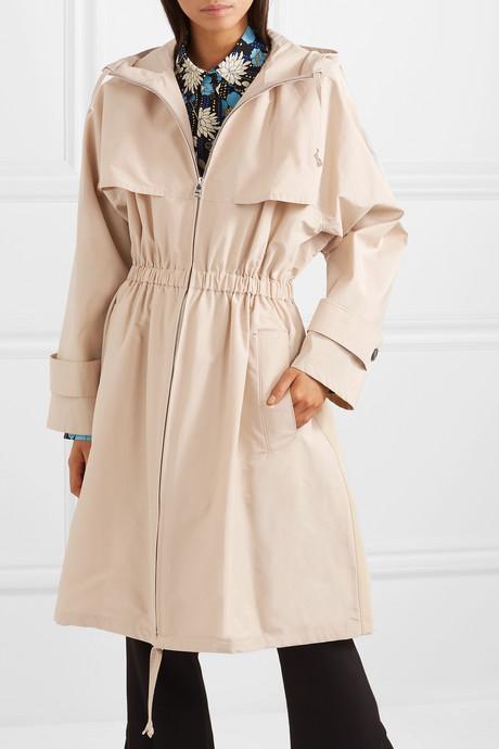 Hooded cotton-blend poplin trench coat