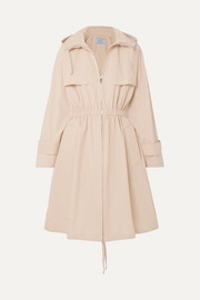 Hooded cotton-blend poplin trench coat