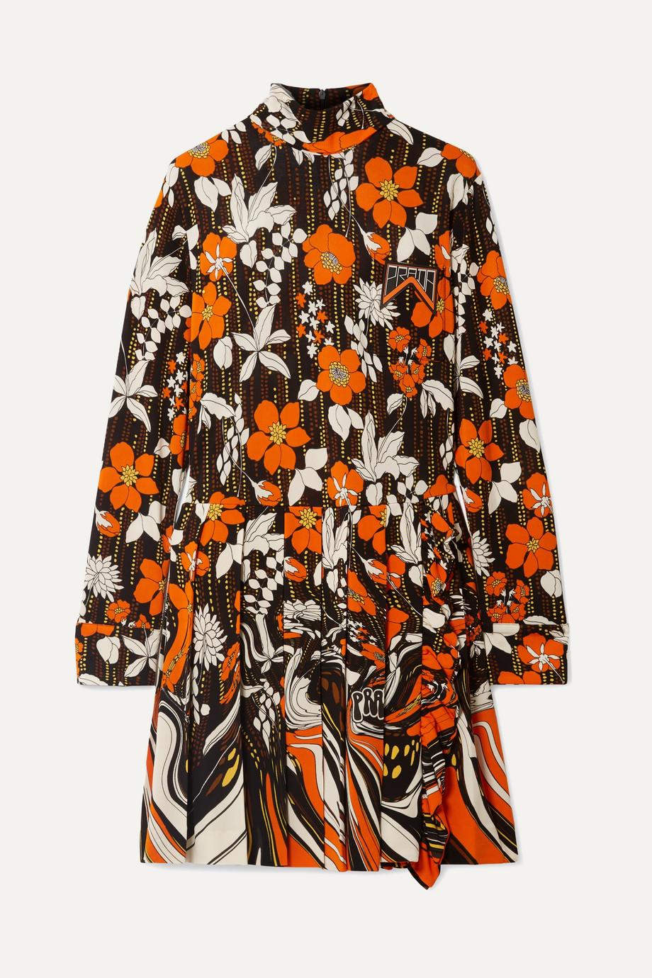 Prada Appliquéd pleated floral-print jersey mini dress