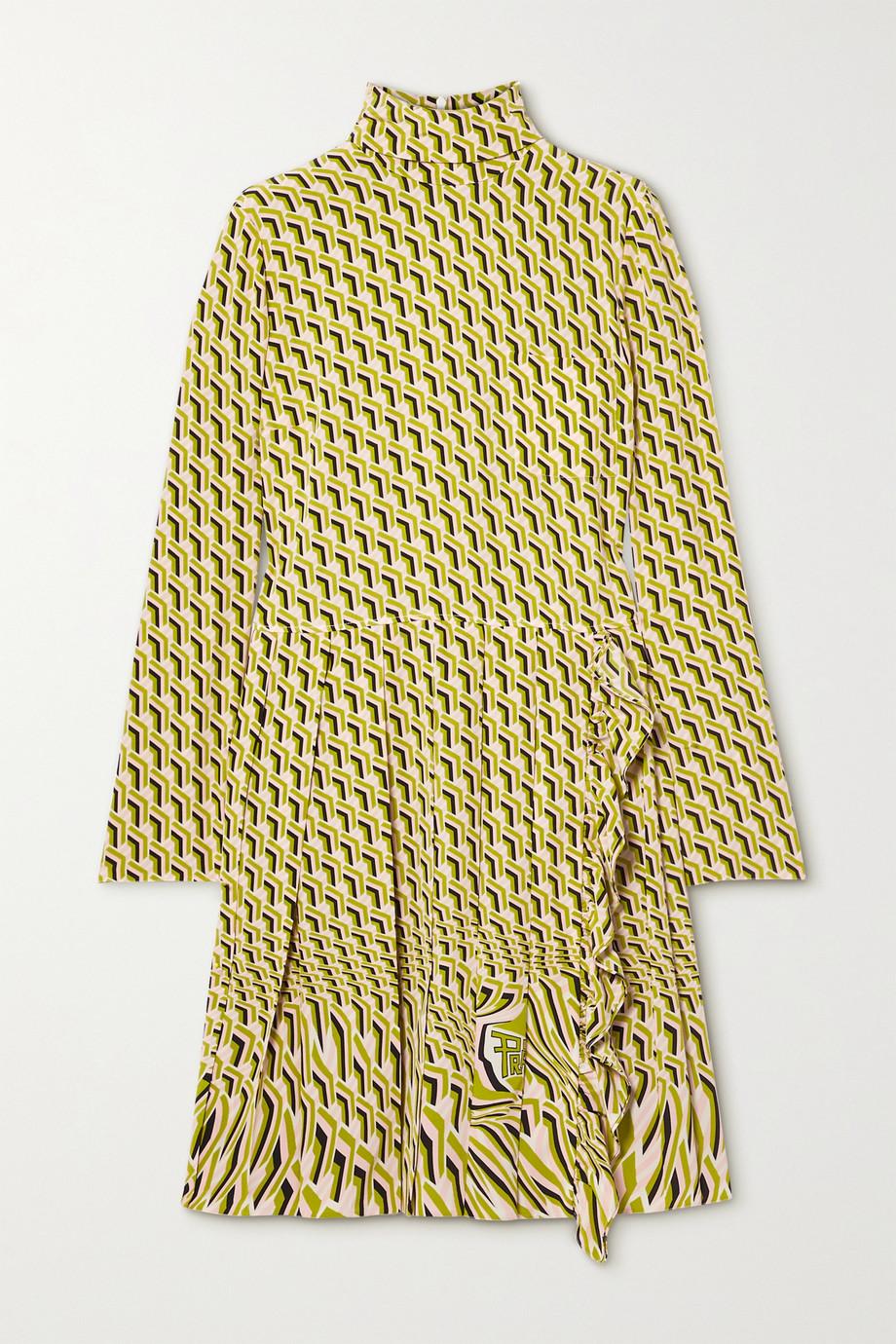 Prada Robe en crêpe de Chine de soie imprimé à plis plats
