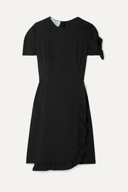 Prada Wrap-effect ruffled crepe mini dress